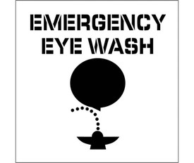 """Emergency Eye Wash Marking Stencil - Aris Industrial stencil with the words """"EMERGENCY EYE WASH"""" above a man bent over cleaning his eyes in a spraying fountain."""