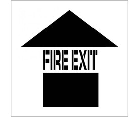 """Made in USA Fire Exit Marking Stencil - Aris Industrial stencil with the word """"FIRE EXIT"""" and a an arrow pointing upwards."""