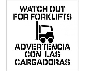 """Marking Stencil Watch Out For Forklifts - Aris Industrial stencil with the words """"WATCH OUT FOR FORKLIFTS"""" and Advertencia Con Las Cargardoras surrounding a picture of a forklift"""