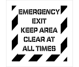 """Emergency Exit Keep Area Clear Stencil - Aris Industrial stencil with the words """"EMERGENCY EXIT KEEP AREA CLEAR AT ALL TIMES"""" with wide stripes around the entire edge."""