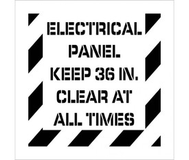 """Electrical Panel Keep Clear Stencil - Aris Industrial stencil with the words """"ELECTRICAL PANNEL KEEP 36IN. CLEAR AT ALL TIMES"""" and wide stripes around the entire edge."""