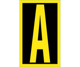 Vinyl Reflective 2.5 Inch A to Z Letters - Aris Industrial 2.5 Inch Yellow Reflective Letter A on Black background with yellow border
