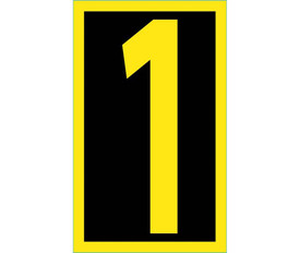 Vinyl Reflective 2.5 Inch 0 to 9 Numbers - Aris Industrial 2.5 Inch Yellow Reflective Number 1 on Black background with yellow border