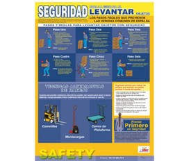 Spanish Back Lifting Educational Safety Poster - Aris Industrial Spanish Back Lifting Educational Safety Poster