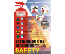 Spanish Fire Extinguisher Safety Techniques Poster - Aris Industrial Spanish Fire Extinguisher Safety Techniques Poster