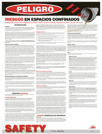 Spanish Confined Space Hazards Instructions Poster - Aris Industrial Spanish Confined Space Hazards Instructions Poster