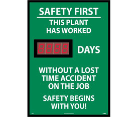 Safety 1st Plant Digital Scoreboard Tracks No Accident Days - Aris Industrial Green Safety 1st This Plant Has Worked # of Days Without A Lost Time Accident on the Job Digital Scoreboard