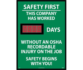 Safety 1st Company Scoreboard Tracks No Accident Days - Aris Industrial Green Safety 1st This Company Has Worked # of days without an OSHA Recordable Injury on the Job Digital Scoreboard