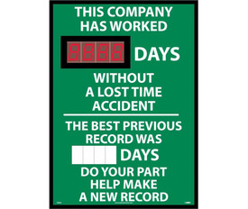 "This Company Has Worked Digital Magnetic Scoreboard - Aris Industrial Rectangular digital score board with the words ""THIS COMPANY HAS WORKED __DAYS WITHOUT A LOST TIME ACCIDENT.THE BEST PREVIOUS RECORD WAS __DAYS DO YOUR PART HELP MAKE A NEW RECORD ""In white text with green background."