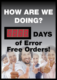How Are We Doing Days Of Error Free Orders LED Scoreboard