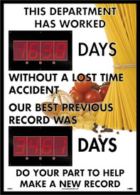 "This Department Lost Accident Days Against Previous Score Tracker - Aris Industrial Rectangular digital score board with the words ""THIS DEPARMENT HAS WORKED __DAYS WITHOUT A LOST TIME ACCIDENT OUR BEST PREVIOUS RECORD WAS __DAYS DO YOUR PART TO HELP MAKE A NEW RECORD"" In black text."
