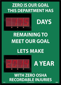 Zero Is Our Goal Counts Days Remaining Scoreboard