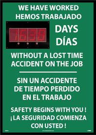 Safety 1st Bilingual Lost Day Accident LED Scoreboard