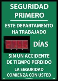 Spanish Lost Day Accident Digital LED Tracker