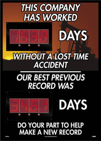 "Company Has Worked Days 2 Led Digital Scoreboard - Aris Industrial Rectangular digital score board with the words ""THIS COMPANY HAS WORKED XXXX DAYS WITHOUT A LOST TIME ACCIDENT OUR BEST PREVIOUS RECORD WAS XXXX DAYS DO YOUR PART TO HELP MAKE NEW RECORD"" In white text with sunset and land oilrig background."