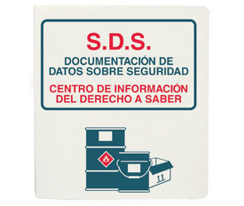 "Spanish Right To Know SDS Storage Binder - Aris Industrial Spanish White square shape binder data sheet with the word ""S.D.S SAFETY DATA SHEETS RIGHT TO KNOW INFORMATON CENTER BINDER"" in red and blue text with a graphic of 2 barrels."