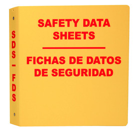 "Bilingual Safety Data Sheet Yellow Storage Binder - Aris Industrial Yellow square shape bilingual SDS binder with the word ""SAFETY DATA SHEETS "" ""FICHAS DE DATOS DE SEGURIDAD"" in red text."