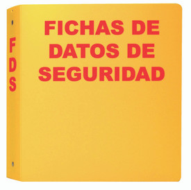 "Spanish Yellow SDS Data Sheet Storage Binder - Aris Industrial Spanish Yellow square shape bilingual SDS binder with the word ""SAFETY DATA SHEETS "" ""FICHAS DE DATOS DE SEGURIDAD"" in red text."