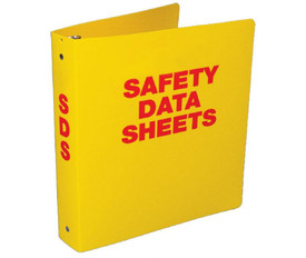 "Safety Data Sheet 2 Inch Yellow Storage Binder - Aris Industrial Yellow square shape bilingual SDS binder with the word ""SAFETY DATA SHEETS"" in red text."