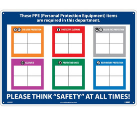 """Write On PPE Required Company Board - Aris Industrial Blue rectangular shape personal protection board with the word """"THESE PPE (PERSONAL PROTECTION EQUIPMENT) ITEMS ARE REQUIRED IN THIS DEPARTMENT. PLEASE THINK """"SAFETY"""" AT ALL TIMES"""" in white text."""