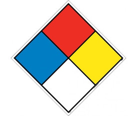 Hazardous Material Identification Label System Kits - Aris Industrial diamond with each color in blue, red, yellow and white representing Hazard Classification System.