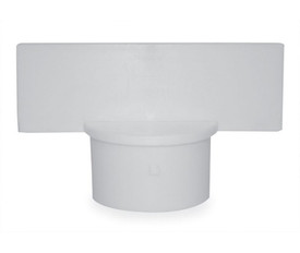 White Sign Adapter - Aris Industrial White sign adapter with a round end to fit over a post and a rectangle top for sign attachment
