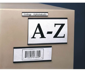 Magnetic Slide Label Holders  - Aris Industrial MAGNETIC channel LABEL HOLDER with labels sliding in the holder and the holder attached to a box.