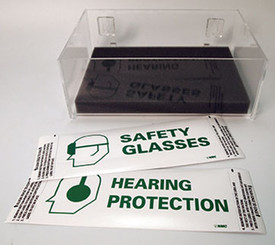 Acrylic Compact No Cover Dispenser  - Aris Industrial clear acrylic box with pack of safety glasses and hearing protection