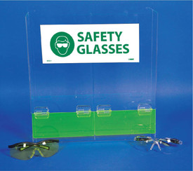 Acrylic Safety Glasses Duo Dispenser - Aris Industrial clear acrylic dispenser with 2 compartments side by side of equal size and 2 green see through acrylic flaps at the bottom of each shoot where safety glasses can be taken.