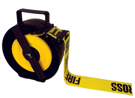 Barricade Fast Tape Feed Dispenser - Aris Industrial Black and Yellow SAFETY FENCE AND BARRICADE TAPE  Dispenser