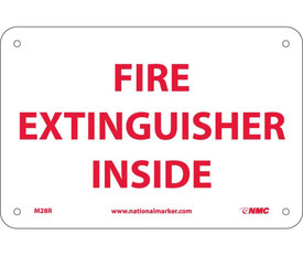 "Fire Extinguisher Inside Signage - Aris Industrial White square sign with the  words ""FIRE EXTINGUISHER INSIDE"" in red text."
