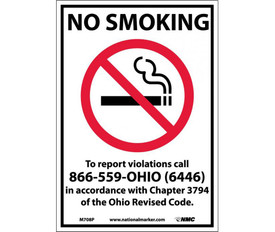 """No Smoking Ohio Forbidden Graphic Signs - Aris Industrial White rectangular vertical sign with the words """"NO SMOKING TO REPORT VIOLATIONS CALL 866-559-OHIO (6446) IN ACCORDANCE WITH CHAPTER 3794 OF THE OHIO REVISED CODE"""" in black text with no smoking symbol in middle of sign below the words NO SMOKING."""