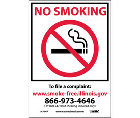 """No Smoking Illinois Forbidden Graphic Signs - Aris Industrial White rectangular vertical sign with the words """" TO FILE A COMPLAINT: WWW.SMOKE-FREE.ILLINOIS.GOV 866-973-4646"""" in black text  beneath the No Smoking Symbol outlined in a black square line on the topo half of the sign."""