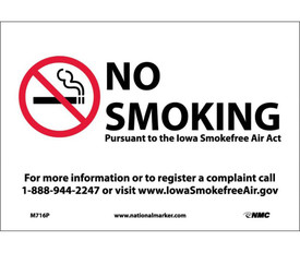 """No Smoking Iowa Forbidden Graphic Signs - Aris Industrial White rectangular horizontal sign with the No Smoking symbol on the left side and the words """"NO SMOKING PURSUANT TO THE LOWA SMOKEFREE AIR ACT FOR MORE INFORMATION OR REGISTER A COMPLAINT CALL 1-888-944-2247 OR VISIT WWW.LOWASMOKEFREEAIR.GOV"""" in black text."""
