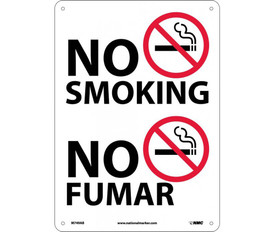 """No Smoking Bilingual Forbidden Graphic Sign - Aris Industrial White rectangular vertical sign with the graphic of no smoking and a word """"NO SMOKING"""" in black text and four holes for mounting. The lower half of the sign says """"NO FUMAR"""" next to the No Smoking Symbol."""
