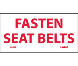"Fasten Seat Belts PS Vinyl Sign - Aris Industrial White rectangular sign with the words ""FASTEN SEAT BELTS"" in red text."