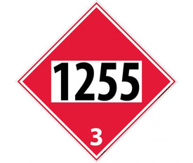 "DOT 1255 3 Red Placard Sign - Aris Industrial red diamond DOT Placard with the numbers ""1255 3"" In black text."