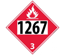 "DOT 1267 3 Red Placard Sign - Aris Industrial red diamond DOT Placard with the numbers ""1267 3"" In black text and flame symbol at top."