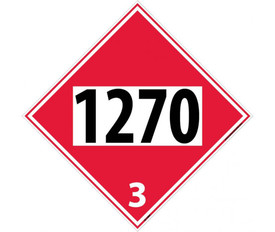 "DOT 1270 3 Red Placard Sign - Aris Industrial red diamond DOT Placard with the numbers ""1270 3"" In black text."
