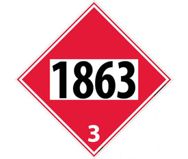 "DOT 1863 3 Red Placard Sign - Aris Industrial red diamond DOT Placard with the numbers ""1863 3"" In black text."