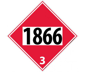 "DOT 1866 3 Red Placard Sign - Aris Industrial red diamond DOT Placard with the numbers ""1866 3"" In black text."