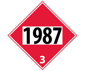 "DOT 1987 3 Red Placard Sign - Aris Industrial red diamond DOT Placard with the numbers ""1987 3"" In black text."
