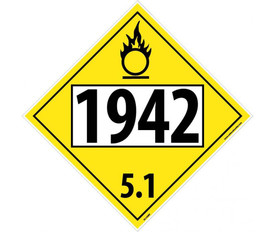 "DOT 1942 5.1 Yellow Placard Sign - Aris Industrial yellow diamond DOT Placard with the numbers ""1942 5.1"" In black text."