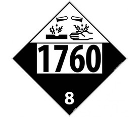 "DOT 1760 8 Placard Sign - Aris Industrial black and white diamond DOT Placard with the numbers ""1760 8"" In black text below the corrosive symbol."