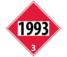 DOT 1993 3 Red Placard Sign