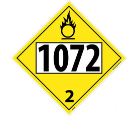 "DOT 1072 2 Yellow Placard Sign - Aris Industrial yellow diamond DOT Placard with the numbers ""1072 2"" In black text."