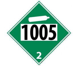 "DOT 1005 2 Green Placard Sign - Aris Industrial green diamond DOT Placard with the numbers ""1005 2"" In black text beneath the non-flammable tank white symbol."