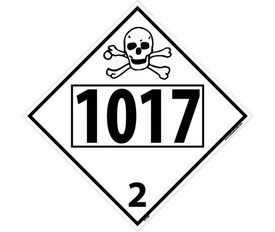 "DOT 1017 2 Black And White Placard - Aris Industrial white diamond DOT Placard with the numbers ""1017 2"" In black text beneath the skull bones symbol."