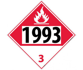 "DOT 1993 3 Placard Sign - Aris Industrial top red and white bottom diamond DOT Placard with the numbers ""1993 3"" In black text beneath flammable symbol."
