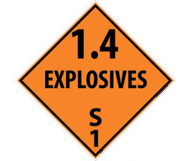 "DOT 1.4 Explosives S 1 Sign - Aris Industrial orange diamond DOT Placard with words ""1.4 EXPLOSIVES S1"" In black text beneath the explosive symbol."